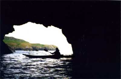 Kayaker in cave