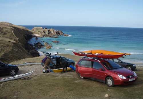 Sea kayakers getting ready