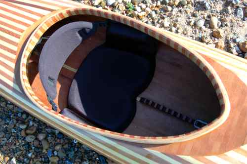 Cockpit of strip plank kayak