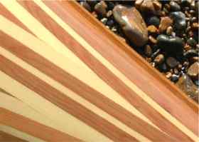 Detail of strip plank kayak