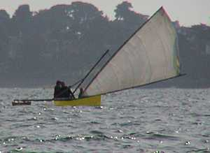 Small proa under sail