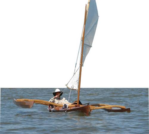 sea kayak with sailing rig