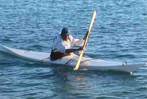 Greenlandic man kayaking