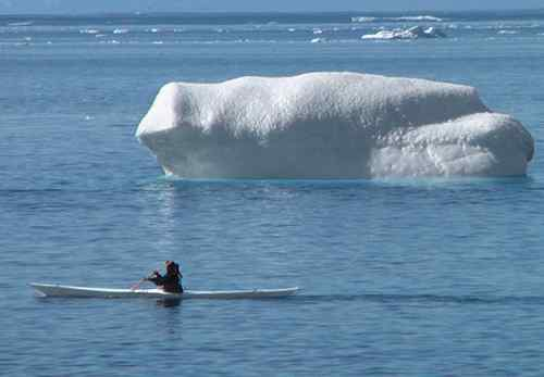 Greenlandic kayaker and bergs