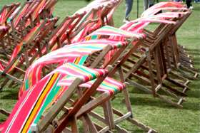 Deckchairs on windy day
