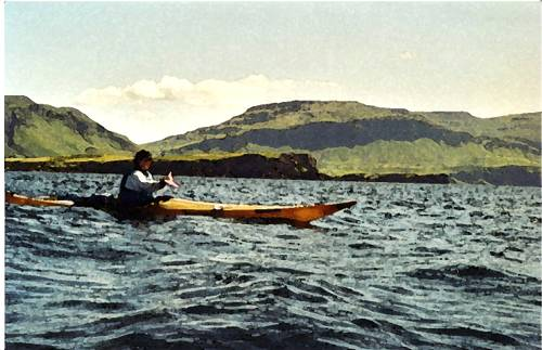 Watercolour of Sophie kayaking off Mull